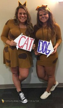 Cool Homemade CatDog Costume for College Roommates