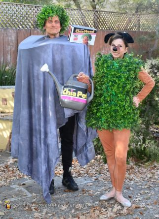 Cool Chia Head and Chia Pet Costume for a Couple