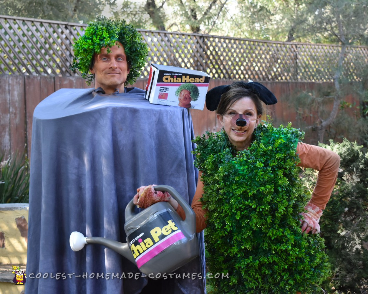 Funny Chia Head And Pet Costume