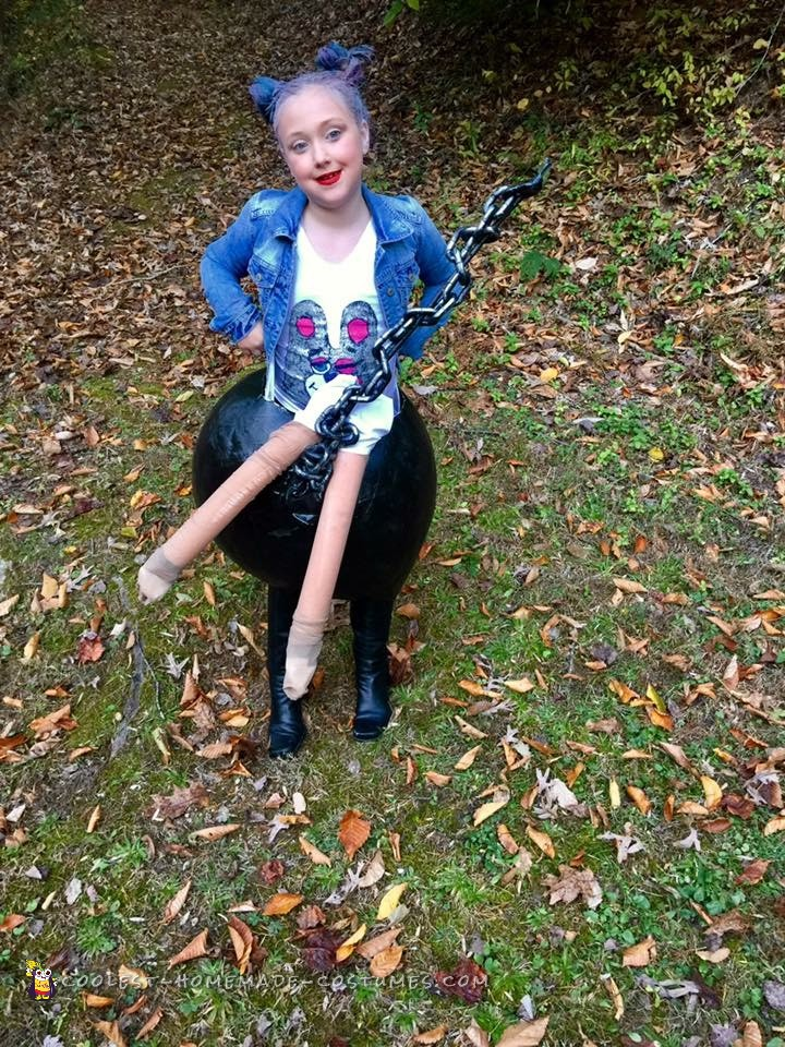 Miley Cyrus Costume Riding a Wrecking Ball Illusion
