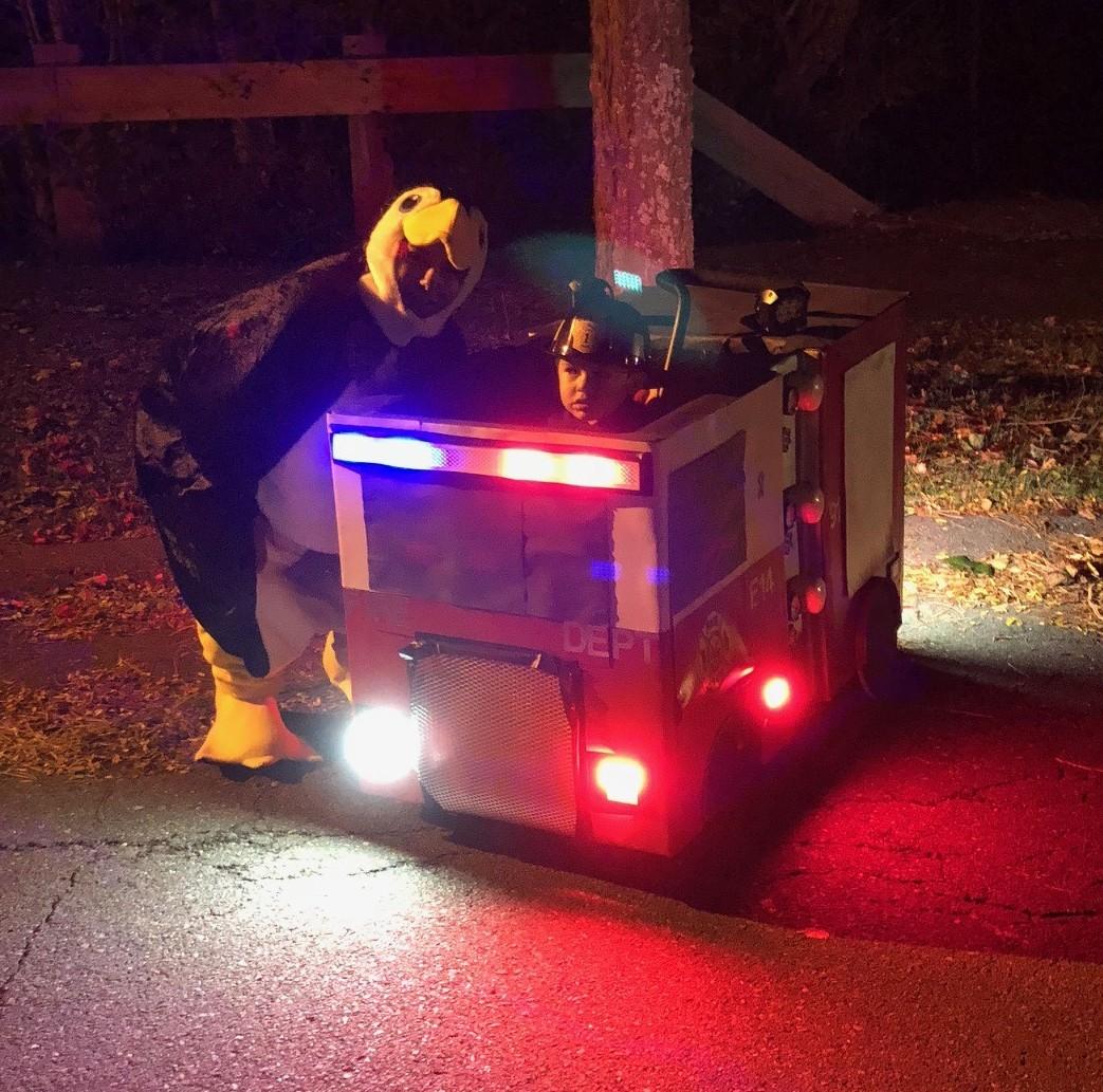 Noah's Fire Truck Costume for a Wheelchair