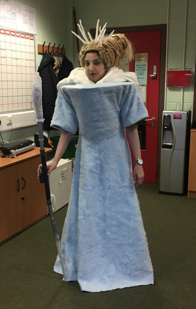 All homemade creative White Witch Costume for fun teachers