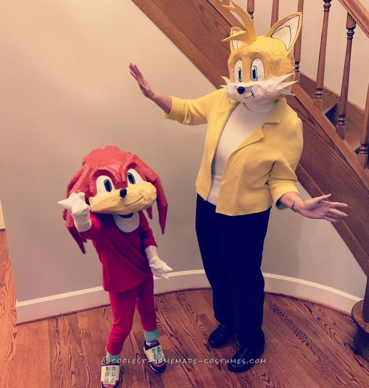 Homemade Paper Mache Sonic, Knuckles and Tales